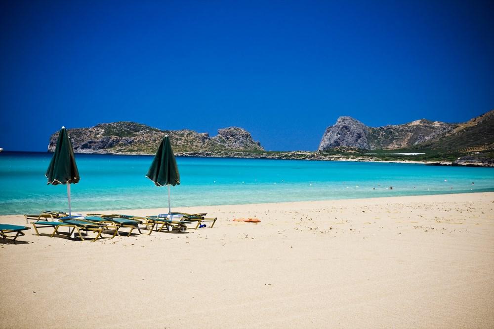 Umbrellas and sun loungers await you Falassarna Beach